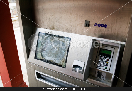 Vandalism stock photo, A computer screen on an automatic ticket machine vandalised by Tyler Olson
