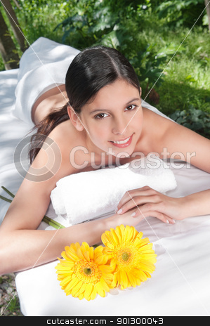 Beautiful young woman with flowers around stock photo, Portrait of fresh and beautiful young woman with flowers around by Tyler Olson
