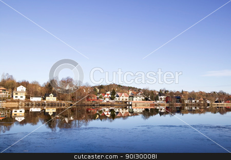 Residential on River stock photo, Residential area on the glomma river in south eastern Norway. by Tyler Olson
