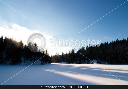 Frozen Lake Landscape stock photo, A frozen lake in the middle of winter on a beautfil blue sky day. by Tyler Olson