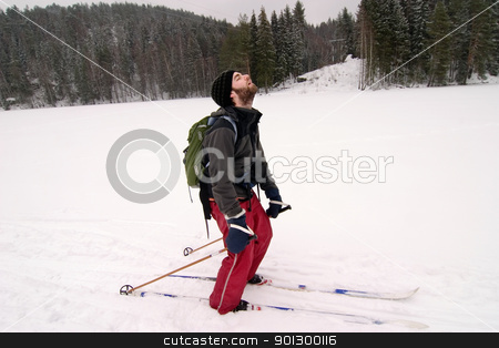 Tired Cross Country Skiier stock photo, A cross country skiier looking like he is very tired. Humorous image. by Tyler Olson