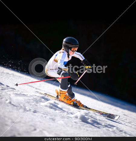 Downhill Skiier stock photo, A close up action shot of a downhill skiier by Tyler Olson