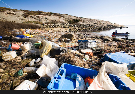 Garbage on Ocean Coast stock photo, Garbage piled up on the coast of the ocean. by Tyler Olson