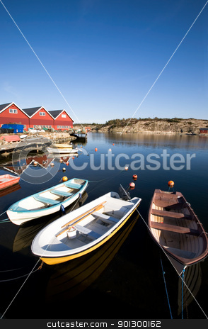 Small Boast at Dock stock photo, A group of small row boats tied to the dock  by Tyler Olson
