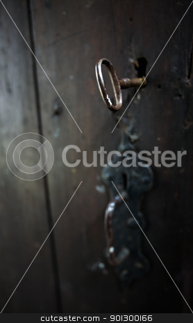 Skeleton Key stock photo, A skeleton key in a black door and lock.  Shallow depth of field. by Tyler Olson