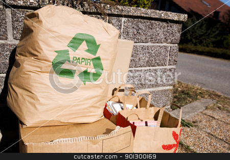 Recycle Papir stock photo, A norwegian paper recycling pile by Tyler Olson