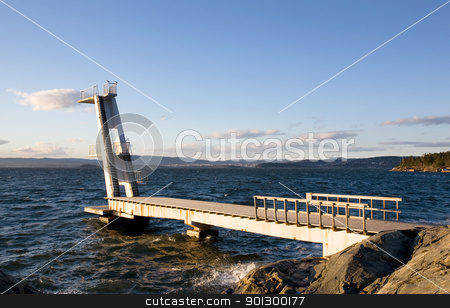 Ocean Dive Tower stock photo, A large 10 meter dive tower into the ocean, Oslo, Norway. by Tyler Olson