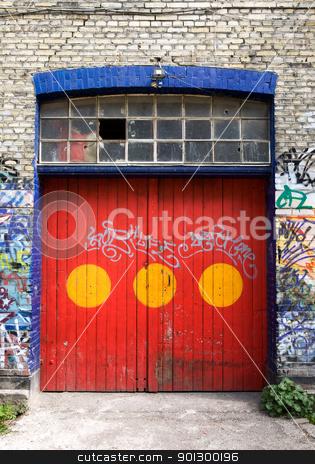Christiania Door stock photo, A door in Christiania - an area of Copenhagen, Denmark by Tyler Olson