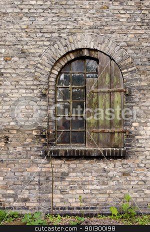 Old Window Detail stock photo, An old antique window on a brick building by Tyler Olson