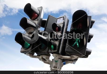 Copenhagen Traffic Light stock photo, A bike, car and pedestrian traffic light in copenhagen, Denmark by Tyler Olson