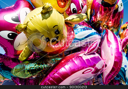Metallic Balloons stock photo, An abstract background of metallic ballons. by Tyler Olson