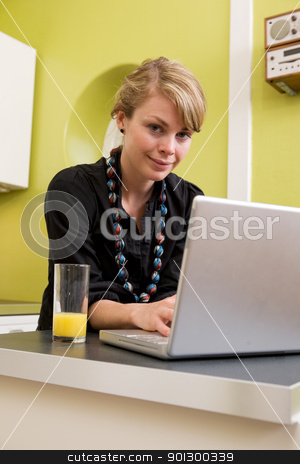 Woman Using Computer in Kitchen stock photo, A young woman uses the computer in the kitchen while enjoying a glass of juice. The model is looking at the viewer and smiling. by Tyler Olson