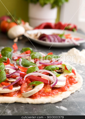 Pizza Making Detail stock photo, Italian style vegetarian pizza on the counter waiting to be baked. by Tyler Olson