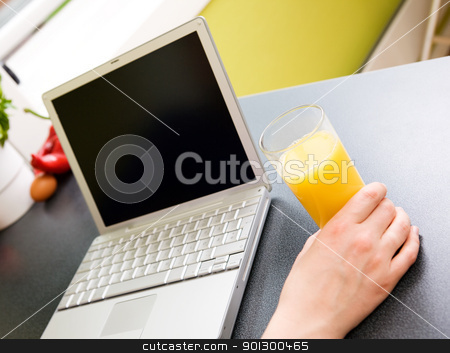 Kitchen Computer stock photo, A person using the computer in the kitchen; by Tyler Olson
