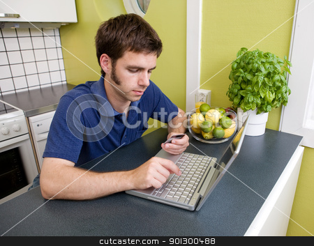Shopping at Home in Kitchen stock photo, A young male shops online with a credit card at home in the kitchen. by Tyler Olson