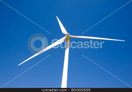 Wind Power stock photo, A wind turbine on the flat prairie by Tyler Olson