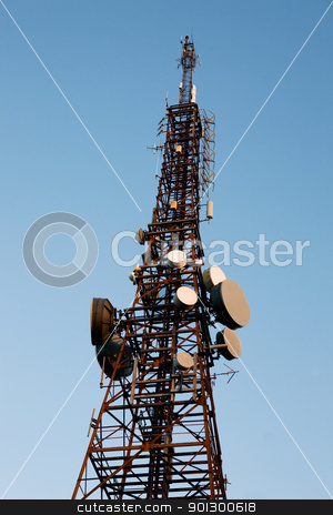 Radio Tower stock photo, Radio Tower isolated on a blue sky by Tyler Olson