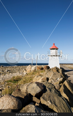 Lighthouse stock photo, A small lighthouse on a rocky point by Tyler Olson