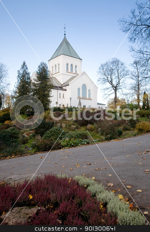 Church stock photo, A church on top of a green hill by Tyler Olson