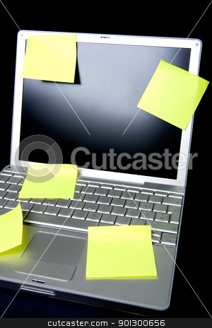 Sticky Note on Computer stock photo, A sticky note on a laptop computer - remember this by Tyler Olson