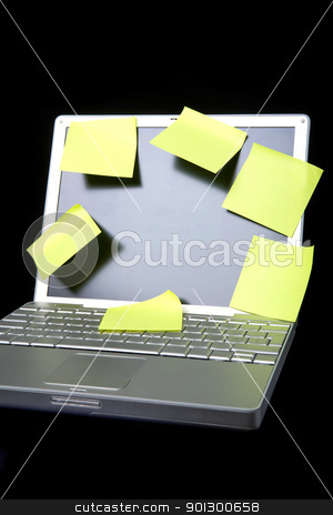 Sticky Note on Laptop stock photo, A sticky note on a laptop computer - remember this by Tyler Olson