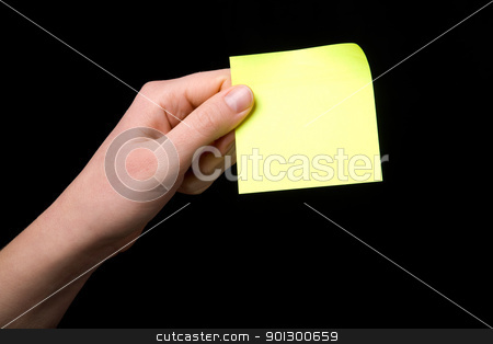 Holding a Sticky Note stock photo, A blank sticky note stuck to a hand - remember this by Tyler Olson
