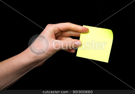 Sticky Note in Hand stock photo, A blank sticky note stuck to a hand - remember this by Tyler Olson