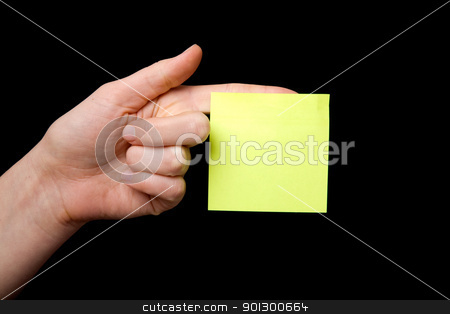 Sticky Note stock photo, A blank sticky note stuck to a hand - remember this by Tyler Olson