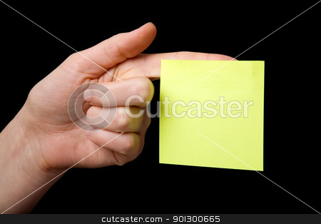 Sticky Note on Hand stock photo, A blank sticky note stuck to a hand - remember this by Tyler Olson