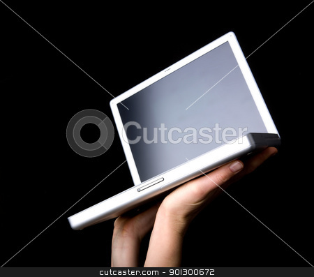Laptop stock photo, Laptop with blank screen - presented with a pair of hands by Tyler Olson