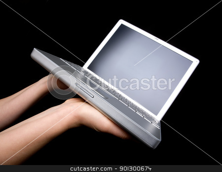 Laptop Display stock photo, Laptop with blank screen - presented with a pair of hands by Tyler Olson