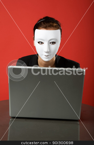 anonymous surfer stock photo, A female surfing the web anonymously by Tyler Olson