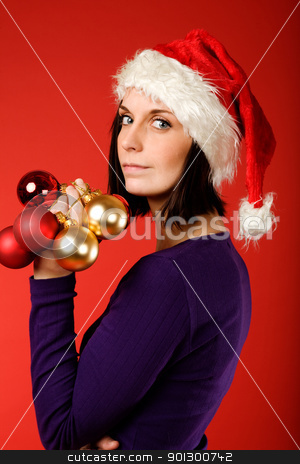 Model with Decorations stock photo, A model with christmas decorations by Tyler Olson