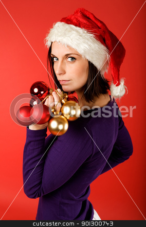 Christmas Decorations stock photo, A model with christmas decorations by Tyler Olson