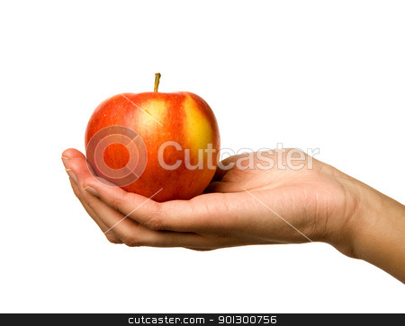 Apple in Hand stock photo, A handing holding out an apple by Tyler Olson