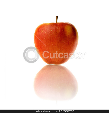 Apple with Reflection stock photo, An apple isolated on a white background by Tyler Olson