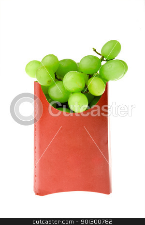 Grape Snack stock photo, A healthy snack of grapes - contrasted in a french fries box by Tyler Olson