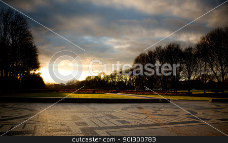 Urban Park Storm stock photo, Vigeland park in Oslo Norway during sunset by Tyler Olson