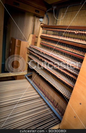 Old Pipe Organ Interior stock photo, Interior of an old wooden pipe organ by Tyler Olson