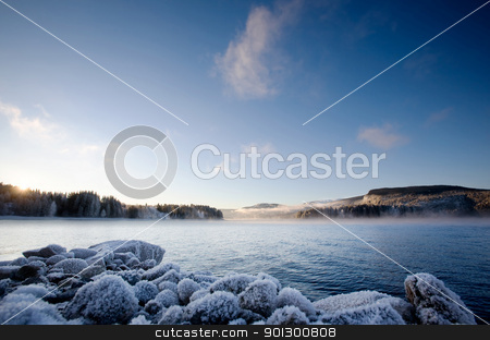 Winter Fjord stock photo, A winter landscape on a Norwegian Fjord by Tyler Olson