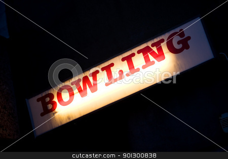 Bowling sign stock photo, A retro bowling sign for a local bowling alley by Tyler Olson