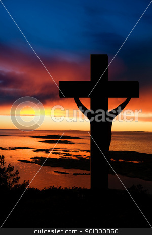 Easter Cross stock photo, A cross at sundown on the ocean by Tyler Olson