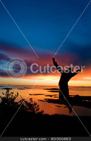 Ocean Cheer stock photo, A person jumping by the ocean raising their arms in celebration with slight motion blur on the hands. by Tyler Olson