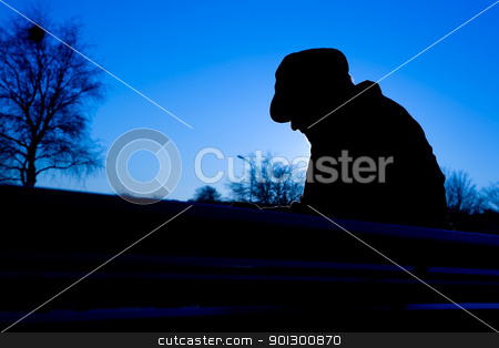 Depressed Man stock photo, A depressed thoughtful sitting on a park bench in cold winter scene. by Tyler Olson