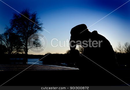 Depression stock photo, A depressed thoughtful man by the water at sundown by Tyler Olson