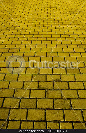 Yellow Brick Road stock photo, A background texture of a yellow brick road by Tyler Olson