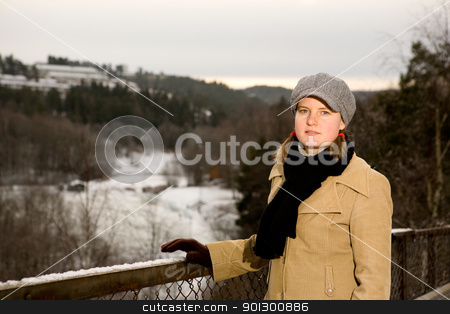 Young Woman in the winter stock photo, A young woman outside in winter by Tyler Olson