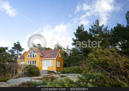 Forest Cabin stock photo, A fancy cabin in the forest on rocks by Tyler Olson