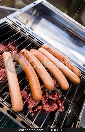 Hotdog Cook stock photo, hotdogs on a barbeque by Tyler Olson