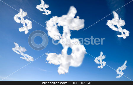 Cloud Dollar Sign stock photo, A dollar sign in the clouds by Tyler Olson